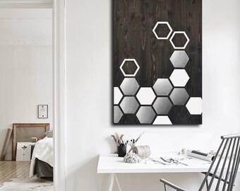Modern Wall Art - Metal Wall Art - Wall Art Wood - Geometric Art - Wood Art - Modern Painting - Metal Wall Decor - Contemporary Wall Art