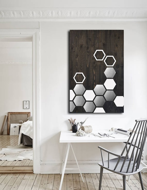 Metal wall art wood wall art modern wood geometric