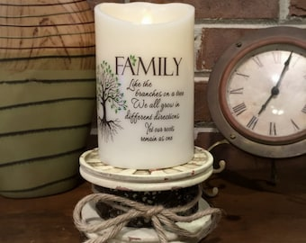 Flameless Candle - Pillar Candle - LED Candle - Home Decorating - Family Quotes - Housewarming Gift - Candle with Quote - Family Home Decor