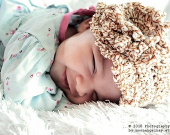 6 to 12m Flower Flapper Brim Sun Hat - Crochet Brown White Speckle Baby Cloche Beanie Baby Hat Baby Girl Photo Prop