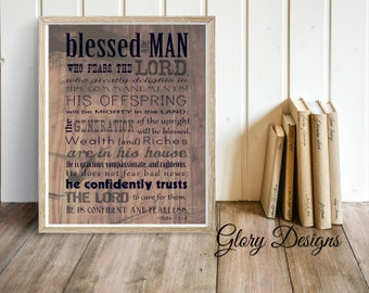 PRINTABLE, Bible Verse, Father's Day, Scripture art, Psalm 112, Rustic, Wood, Psalms Print, Gift for a man, Scripture printable
