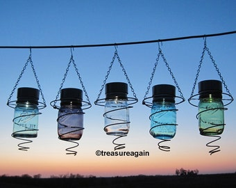 1 Spring Mason Jar Solar Light in Upcycled Bed Springs Outdoor Lighting Recycled Garden Decor, Choice of Colored Ball Pint Jars, Box Springs