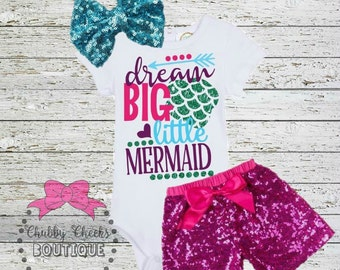 girls sparkle mermaid outfit. dream big little mermaid. first birthday outfit. cake smash. Birthday outfit.