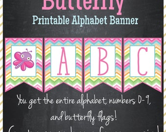 Butterfly Banner Printable Alphabet Banner - Instant Download