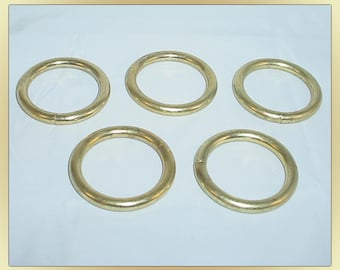 Brass Plated Large Round Rings 5 pc