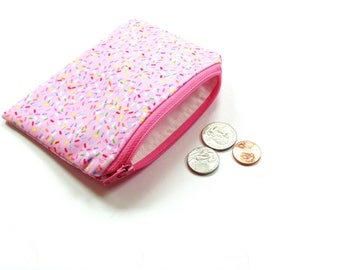 Change purse, small wallet, pink zipper pouch, credit card holder, coin purse