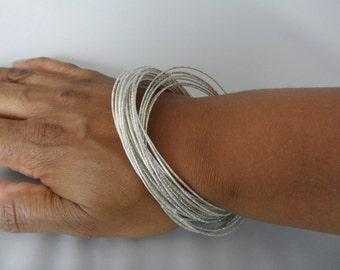 Interlocking Bangles Silver Bangle Set Multi Strand Bracelet Bohemian Bangles Skinny Bracelets Boho Chic Bracelet Thin Bangle Boho Bangles