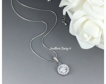 Cubic Zirconia Necklace Bridal Necklace Bridesmaid Jewelry Crystal Necklace Bridal Jewelry Wedding Necklace Maid of Honor Gifts for Mother