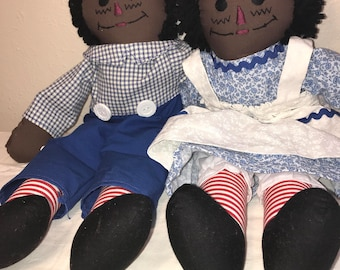 "20"" Black Raggedy Dolls set #2"