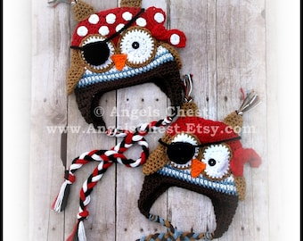 Crochet OWL PIRATE Beanie Earflap Hat PDF Pattern Sizes Newborn to Adult Boutique Design - No. 60 by AngelsChest