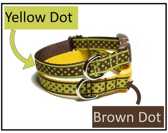 """Brown Dot Or Yellow Dot Dog Collar - 1/2"""" (13mm) Wide - Thin Dog Collar - your choice of style, pattern and size"""