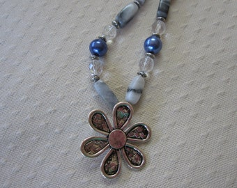 Fun Blue and Gray Flower Pendant Necklace