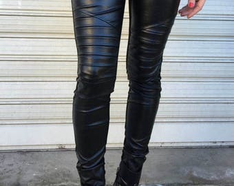 Black Extra Long Leggings / Faux Leather and Knitwear Pants / Women Unique Leggings - MD 2112