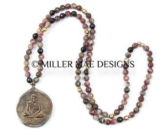 Meditating Buddha Pendant Necklace | Rubellite Necklace | 9 Nine Buddha Necklace | Pink Tourmaline Necklace | Yoga Necklace Jewelry
