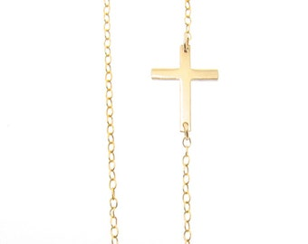 Tiny Sideways Cross Necklace - Off Center, Gold Filled, Sterling Silver, or Rose Gold Filled, Horizontal Cross, Jennifer Lopez Style