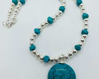 Sterling silver bead and Turquoise necklace 18 inches long