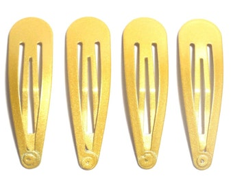 24 Pcs Hair Snap Clip for girl Size 50  Mm Gold Color