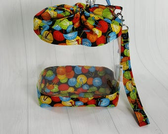 Clear Knitting Project Bag, Rainbow Yarn Balls Clear Vinyl Drawstring Bag, Sock Knitting Bag, Clear window project bag CVS0041