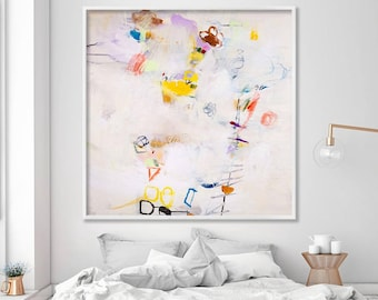 Large wall art print from abstract painting modern floral canvas large artwork arcylic painting abstract painting original  beige abstract