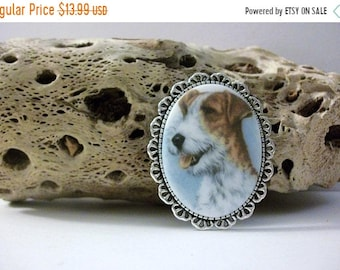 ON SALE Surreal Image Of Dog Silver Tone Metal Glass Stone Pin 51018