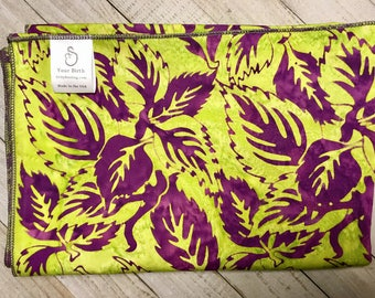 Birth Rebozo Labor Wrap | Hawaiian Purple Leaf Batik | Doulas and Educators - Affordable Wide Rebozo for birth labor support and afterwards.