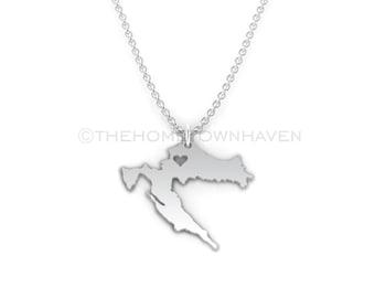 Croatia Necklace - Croatia map necklace, Croatia charm necklace, I love Croatia necklace