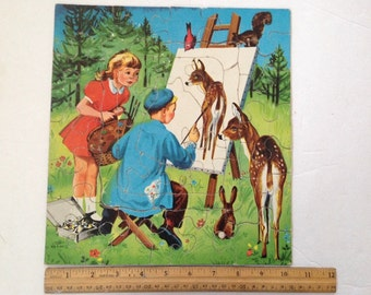 """Vintage 1950's Children's jigsaw puzzle - children as artists painting a deer. 11"""" x 10 1/4"""". #703"""