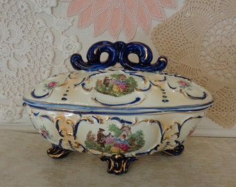 Vintage Royal Sealy Covered Dish, Royal Sealy Footed Covered Compote Candy Dish
