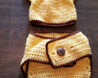 Crocheted Diaper Cover & Hat