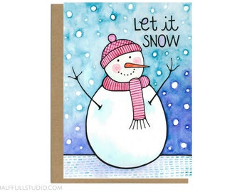 Let It Snow, Cute Holiday Card, Holiday Boxed Set, Holiday Card, Snowman Card, Happy Holidays, Seasons Greetings, Holiday Card Friend