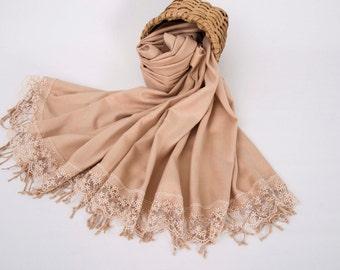 Thick Bridesmaid shawl  pashmina scarf shawl occasion wedding shawl, deep champagne shawl ,french lace shawl