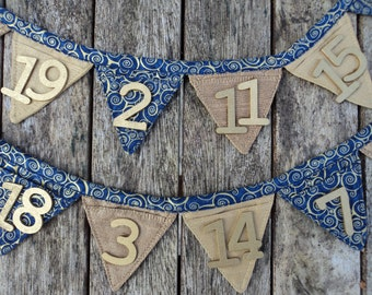 Advent Calendar Mini Bunting Midnight Scroll Gold Wooden Numbers