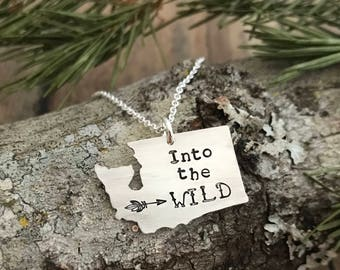"Washington State ""Into the Wild"" Arrow Necklace, Hand Cut, Sterling Silver, Washington State Pacific Northwest Necklace"