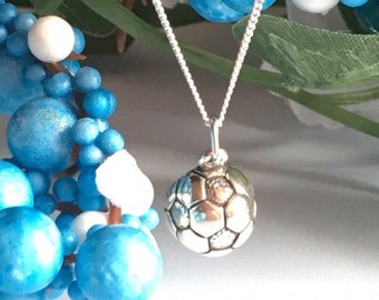 925 Sterling Silver Half 1/2 Soccer Ball Necklace, Gift for Soccer Player, Sports Necklace