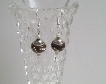 Brown Orb Earrings