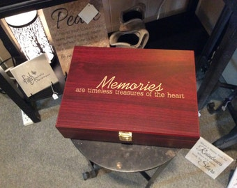 "Memories are timeless treasures of the heart, Rosewood Gift Box, 10.25"" x 7.5"" x 3.125"""