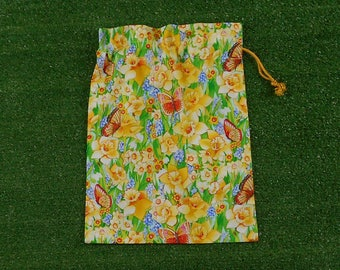 Daffodils small drawstring bag, cotton gift bag, treasure bag
