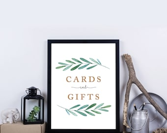Greenery Cards and Gifts, Garden, Botanical, Cards & Gifts Printable Wedding Sign, Well Wishes, Wedding Reception Sign –Waverly