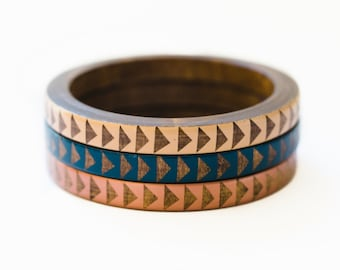 Nao Skinny Bangle Set/ Wood Bracelet Trio/ Painted Triangle Design/ Stacking Bangles/ xs-xl