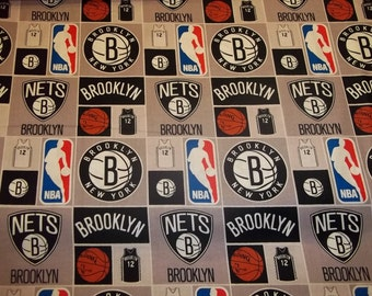BROOKLYN NETS     - NBA Basketball   Fabric One Half Yard   Piece  Mult Color Squares 100% Cotton
