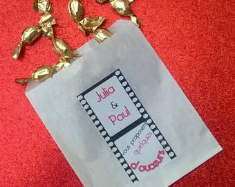 12 bags of candy for candy bar themed movies. Customizable