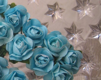 Paper Flowers 24 Petite Millinery Roses In Light Blue