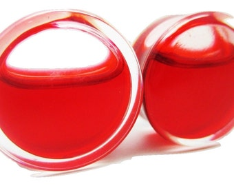 """Liquid """"Blood"""" Filled Ear Plugs - Double Flared - New - 8 Sizes - Pair"""
