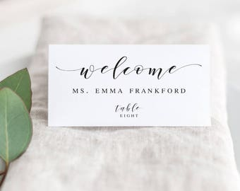 Wedding Name Cards Etsy - Card template free: dinner place name cards template