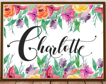 Charlotte name art etsy charlotte name baby initial wall art girl name printable floral for nursery wall birth announcement card girl personalized baby gift negle Gallery