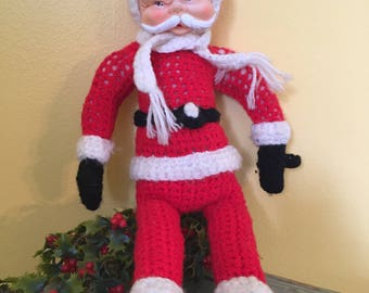 Handmade Crocheted Rubber Face Plush Santa Doll