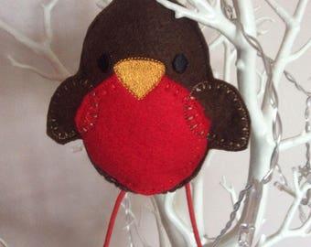 Christmas Robin tree decoration, Hanging handmade Robin tree ornament , Christmas gift decoration, Christmas Felt tree decor,