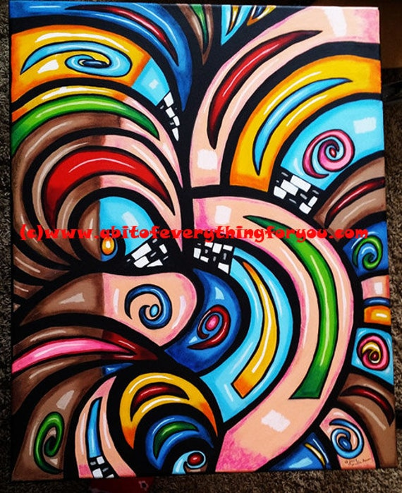 fractals vortex Abstract Art painting famed canvas Original Art Abstract Wall art colorful graphiti waves swirls Modern painting Home decor