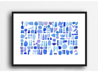 Abstract Ocean Painting, Cobalt blue watercolor, blue watercolorprint, Beach combing nautical watercolor, abstract coastal painting