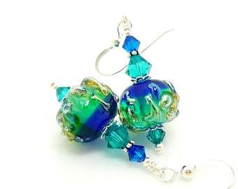 Blue Green Earrings, Lampwork Earrings, Glass Bead Earrings, Unique Earrings, Glass Beads Jewelry, Dangle Earrings, Glass Earrings